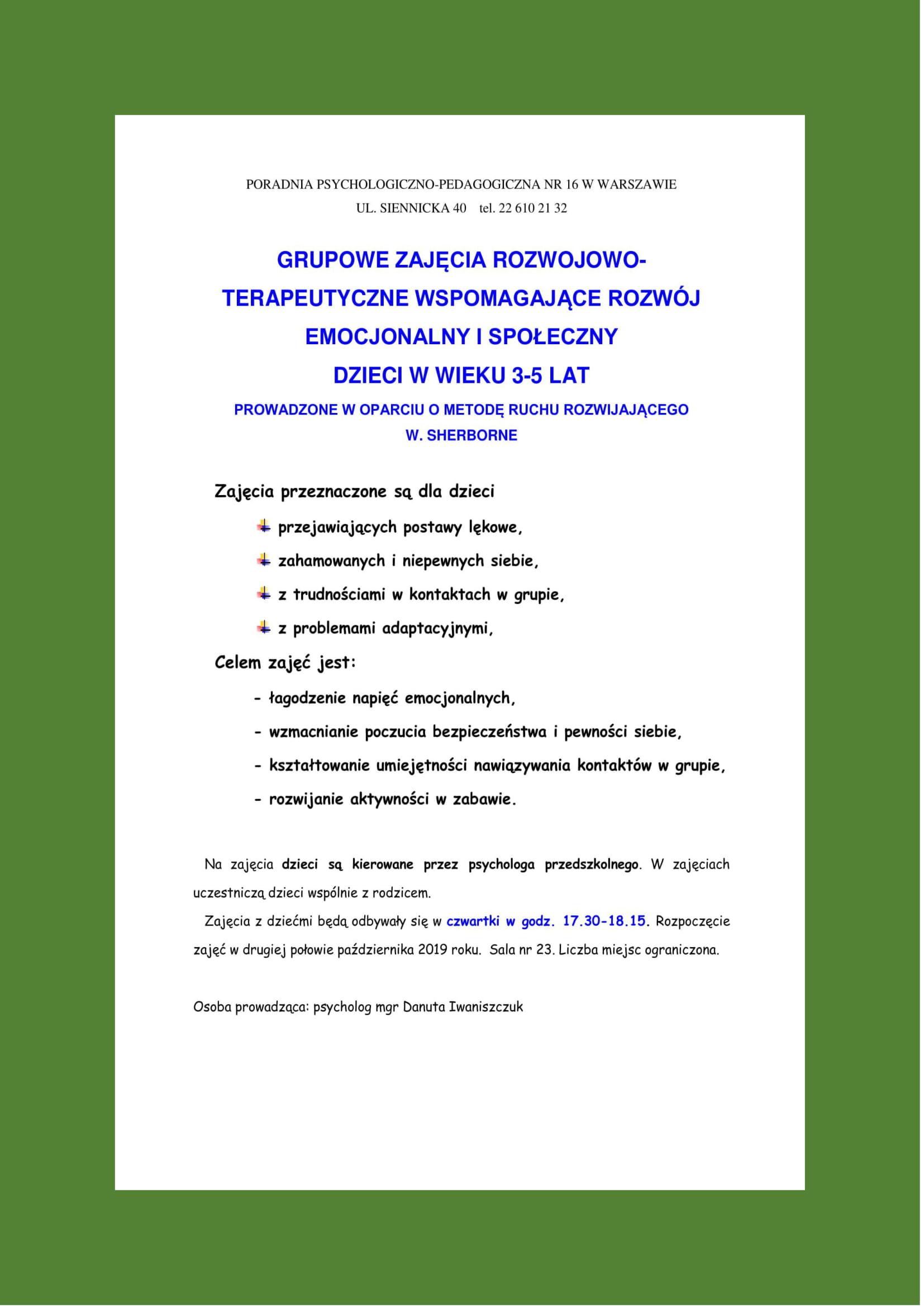 """Plakat """"Zajęcia rozwojowo-terapeutyczne wspomagające rozwój emocjonalny i społeczny"""""""