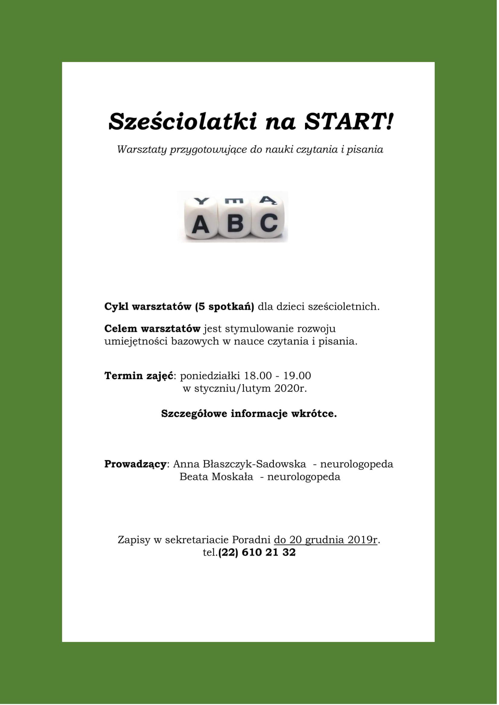 "Plakat warsztatów ""Sześciolatki na start!"""