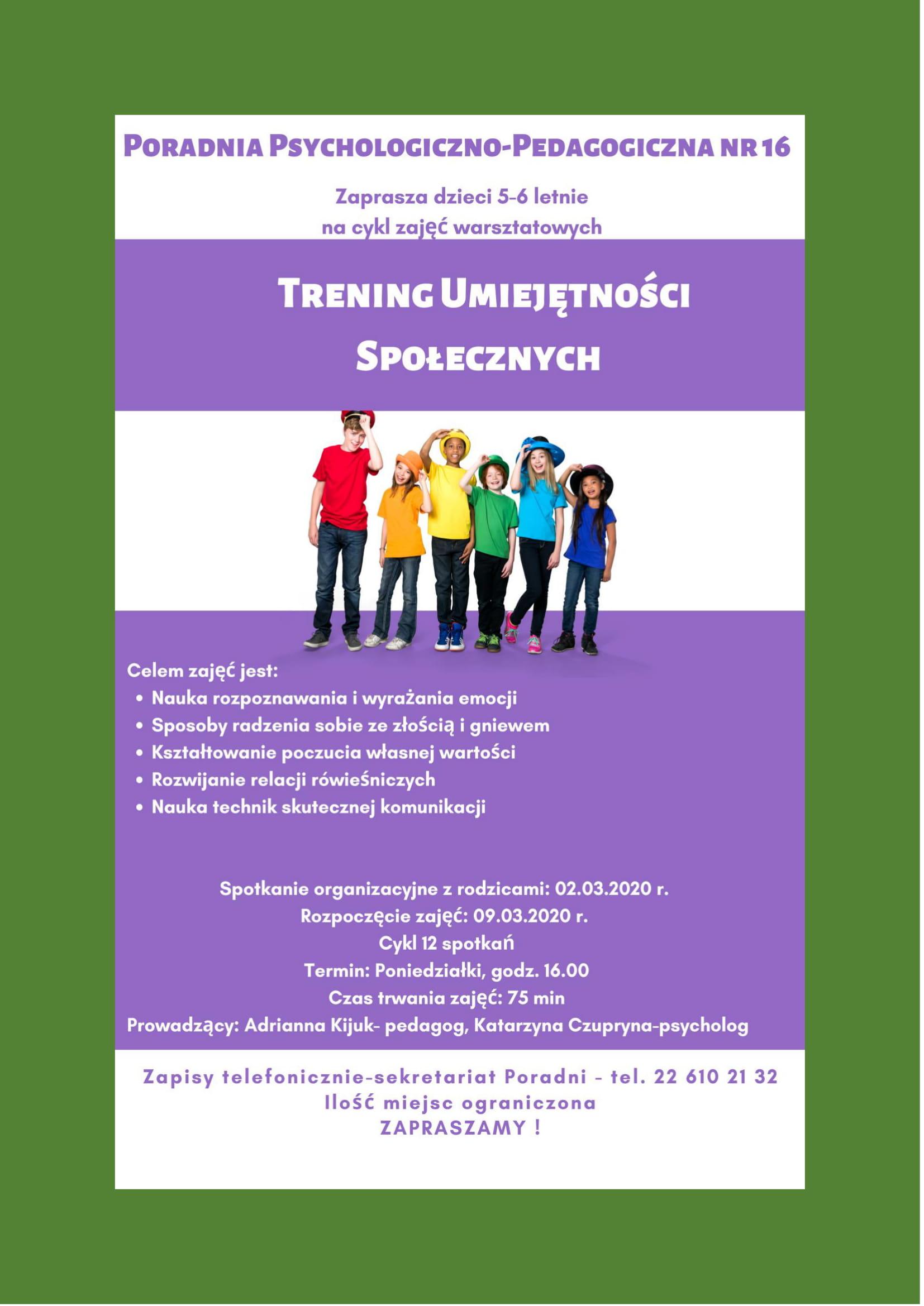 """Plakat zajęć """" Trening umiejętności społecznych dla dzieci 5-6 letnich"""""""