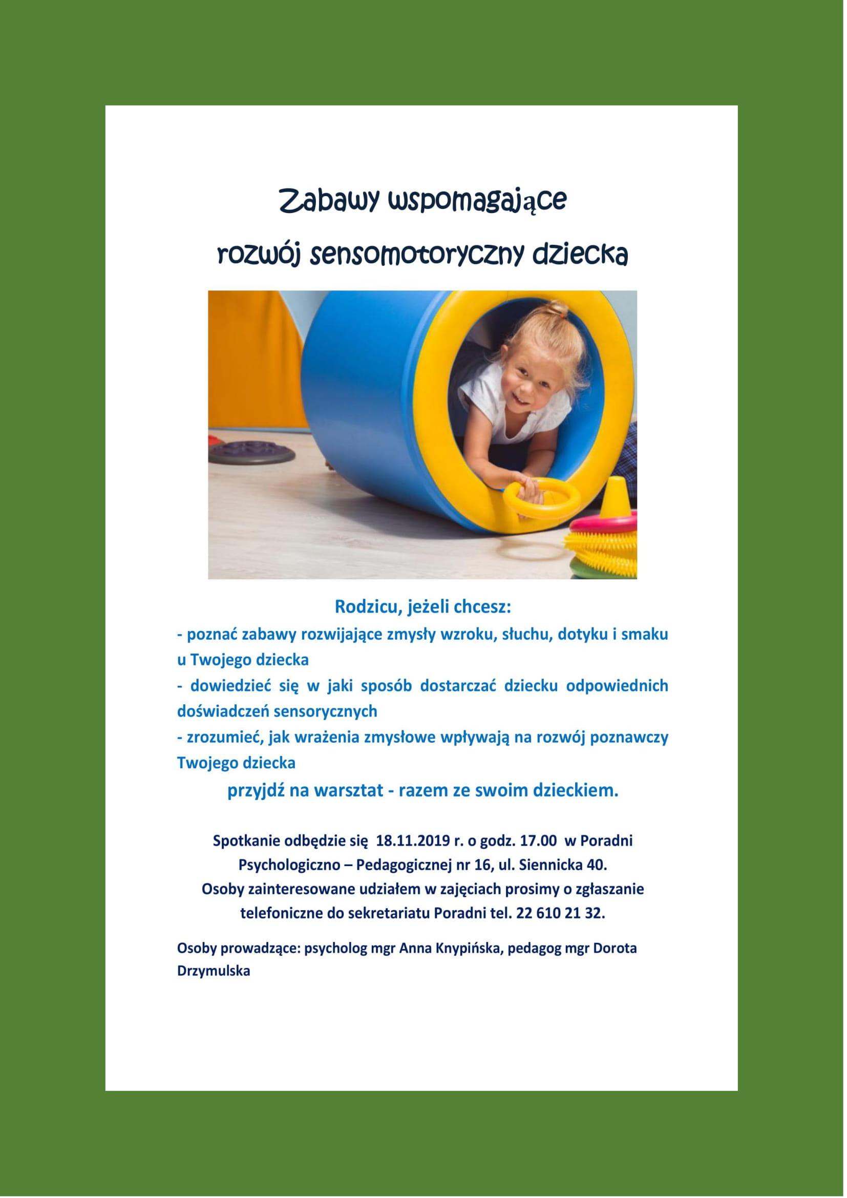 """Plakat warsztatów """"Zabawy wspomagające rozwój sensomotoryczny dziecka"""""""
