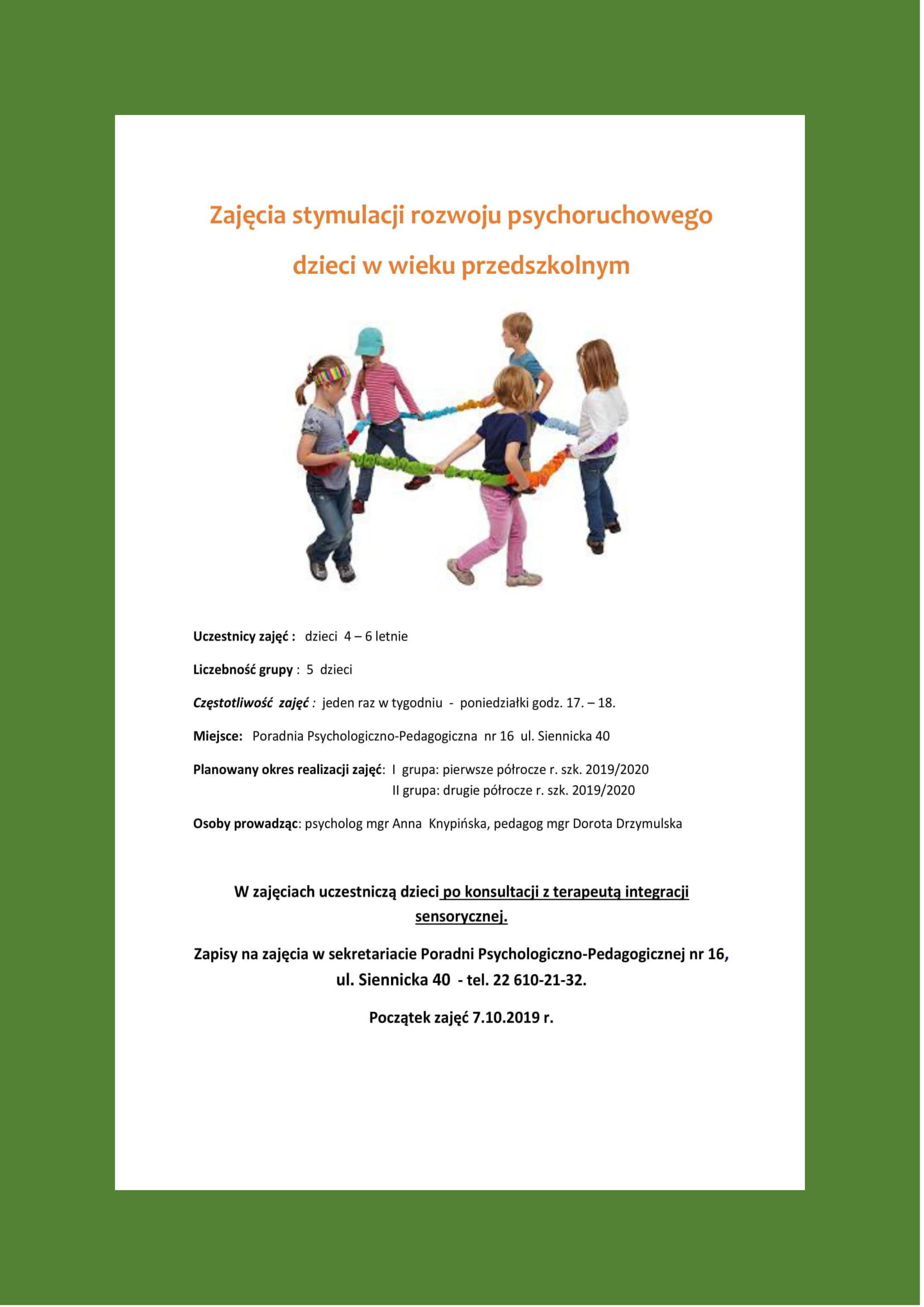 """Plakat zajęć """"Zajęcia stymulacji rozwoju psychoruchowego dzieci w wieku przedszkolnym"""""""