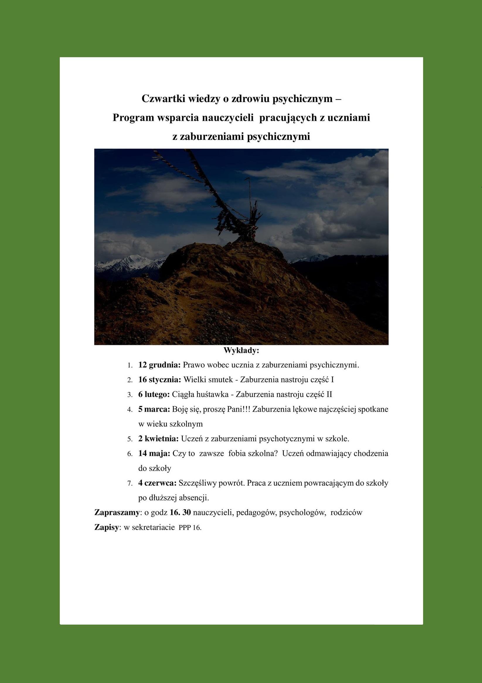 Plakat - Czwartki wiedzy o zdrowiu psychicznym