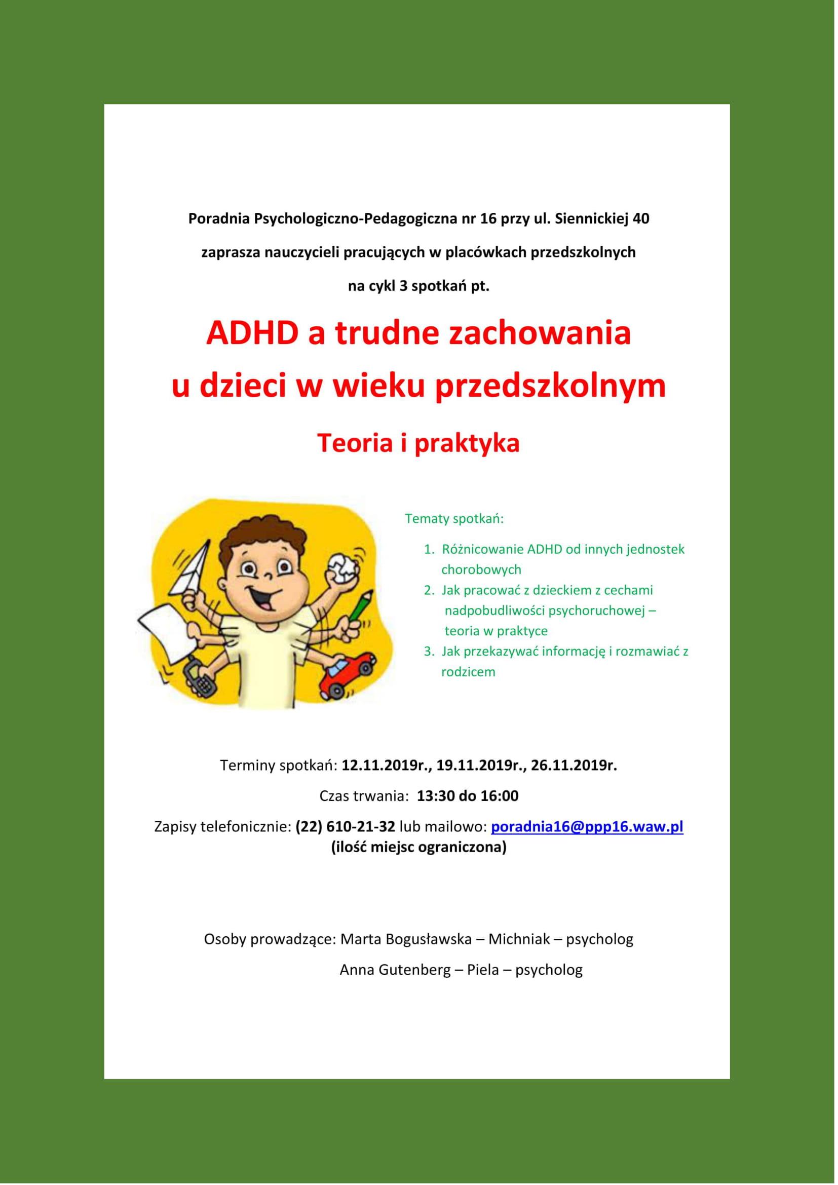 Plakat ADHD a trudne zachowania