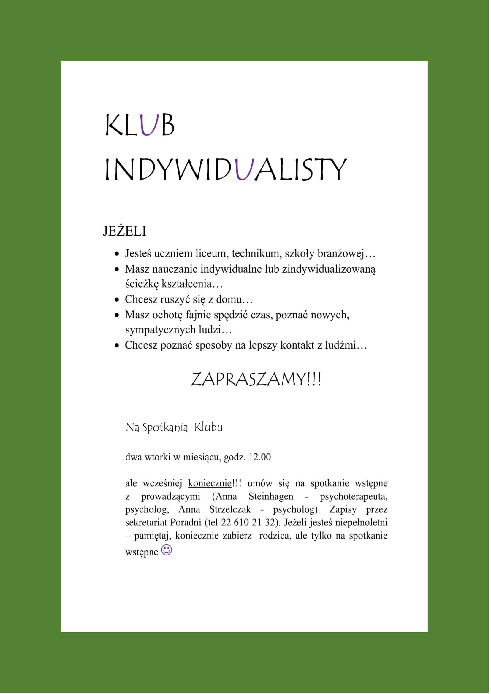 "Plakat ""Klubu Indywidualisty"""