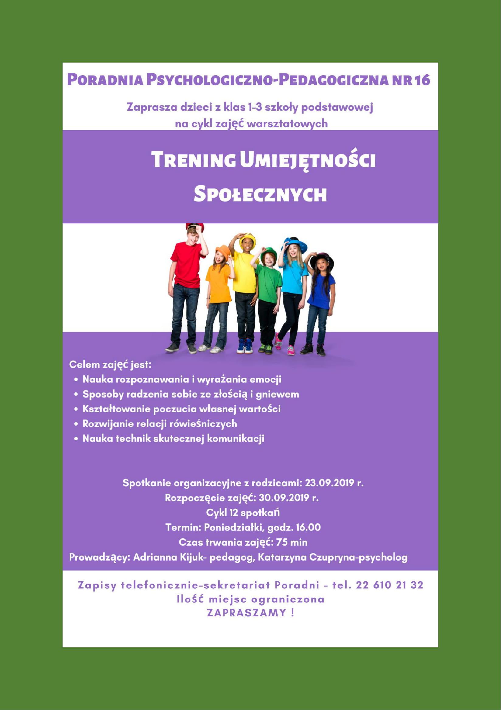 """Plakat """"Treningu Umiejętności Społecznych dla uczniów klas 1-3"""""""