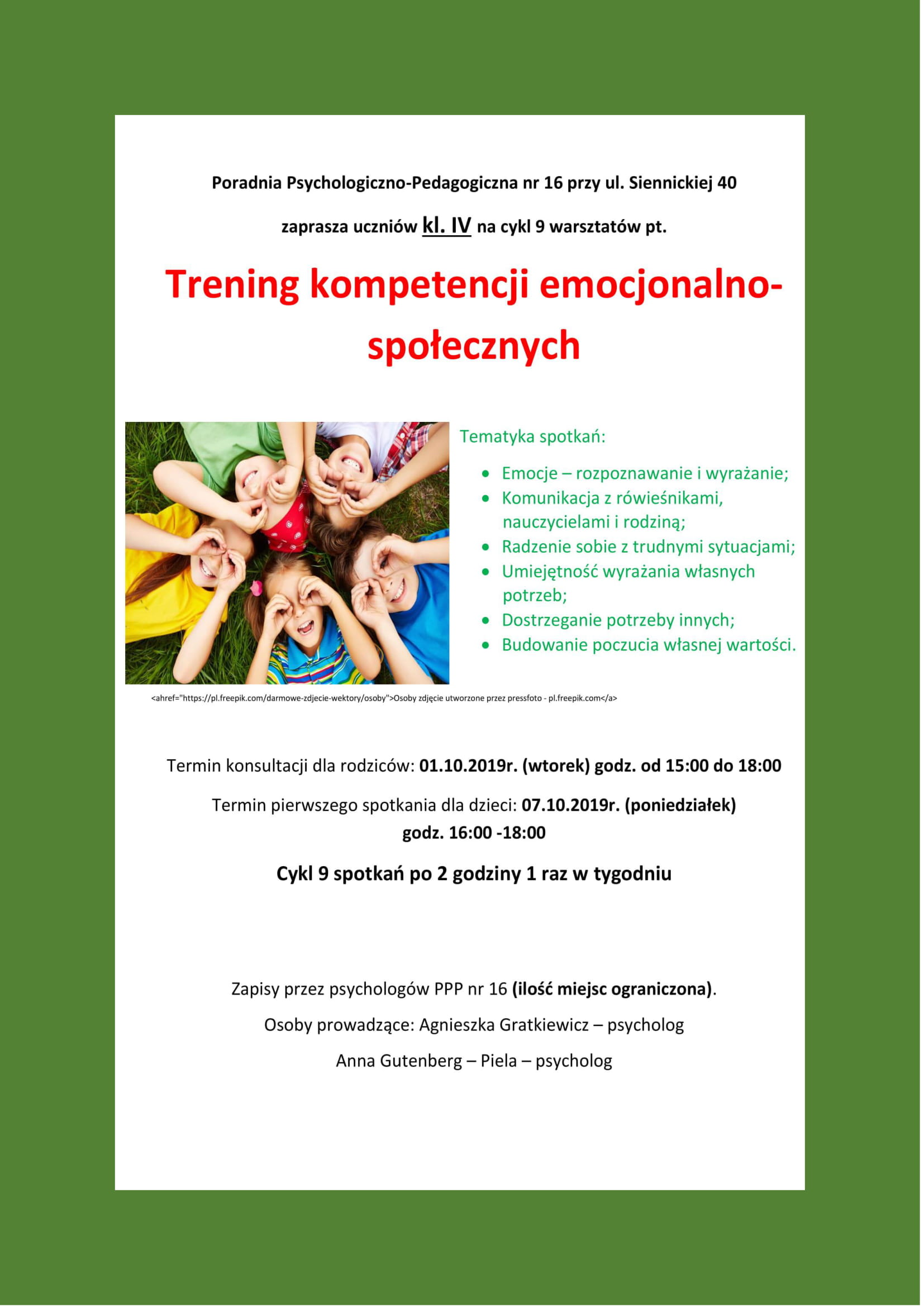 Plakat Trening Umiejętności Społecznych dla uczniów klas 4
